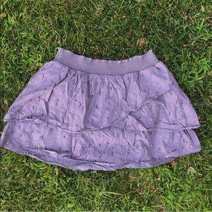 -gray beaded pattern layered skirt